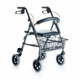 Andador Aluminio Plegable con asiento, cesta y respaldo