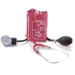 Tensiómetro Portátil Doble Tubo, Bolsa y Estetoscopio Rojo