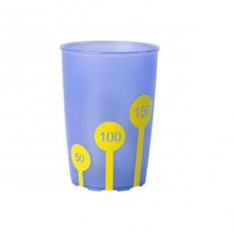 Vaso antideslizante graduado azul y amarillo