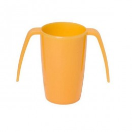 Vaso con doble asa en color naranja