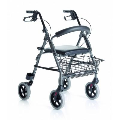 Andador ancianos plegable con cesta, asiento y respaldo