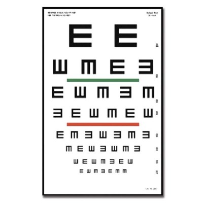 "Tabla de Tumbling ""E"" Gráfica para Optometría Plastificada"
