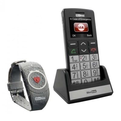 Teléfono Móvil con Pulsera SOS para Ancianos o Enfermos Maxcom MM715